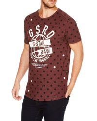 G-Star RAW - Purple Raw V-neck Relaxed Fit Crew Neck T-shirt for Men - Lyst