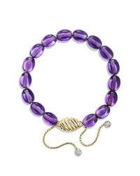 David Yurman | Purple Bracelet With Amethyst And Diamonds In 18k Gold | Lyst