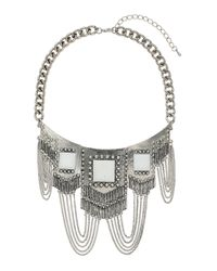 TOPSHOP | White Chain Drape Section Necklace | Lyst