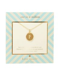 kate spade new york | Metallic One In A Million Letter F Pendant Necklace | Lyst