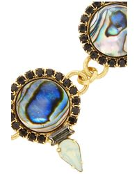 Elizabeth Cole - Blue Gold-plated Mother Of Pearl And Crystal Bib Necklace - Lyst