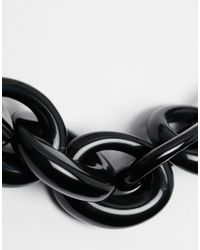 Karen Millen | Black Resin Oval Link Necklace | Lyst