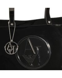 Armani Jeans | Black Handbag Patent Keystone Shopping 1 Zip | Lyst