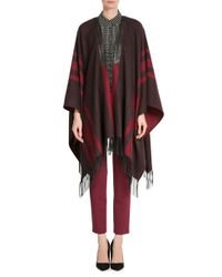 Etro - Brown Printed Cashmere Cape With Leather - Multicolor - Lyst