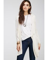 Forever 21 - Natural Marled Stripe Hooded Cardigan - Lyst