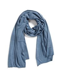 Halogen | Blue Textured Stripe Travel Wrap | Lyst