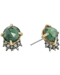 Alexis Bittar - Green Rose Cut Cabochon W/ Spiked Crystal Post Earrings - Lyst