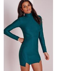 Missguided | Blue Crepe High Neck Bodycon Dress Teal | Lyst