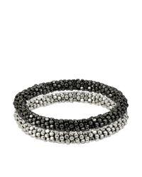 Kenneth Cole | Metallic Silvertone Hematitetone Seed Bead Bracelet Set 2 | Lyst