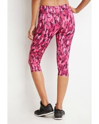 Forever 21 | Multicolor Abstract Print Athletic Capri Leggings | Lyst