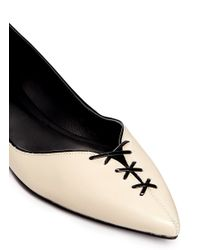 3.1 Phillip Lim - Natural 'martini' Cross Lace Vamp Leather Flats - Lyst
