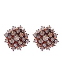 Suzanne Kalan - Pink Rose Gold Champagne Diamonds Starburst Stud Earrings - Lyst