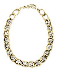Panacea - Metallic Golden Chain & Crystal Collar Necklace - Lyst