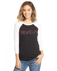RVCA | Black Big Raglan-Sleeved Jersey T-Shirt | Lyst