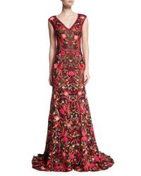 Naeem Khan - Sheer Embroidered V-neck Gown - Lyst