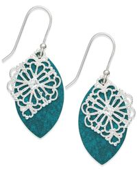 Macy's | Blue Teal Patina And Filigree Overlay Drop Earrings In Sterling Silver | Lyst
