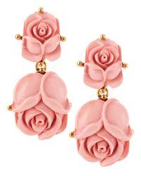 Oscar de la Renta | Pink Double Rose Clipon Earrings Blush | Lyst
