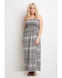 Forever 21 | Black Plus Size Strapless Diamond Print Dress | Lyst