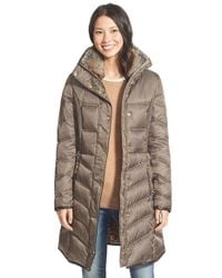 Betsey Johnson | Brown Faux Fur Trim Three Quarter Length Puffer Coat | Lyst