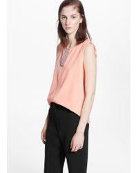 Mango | Pink Metal Beads Top | Lyst