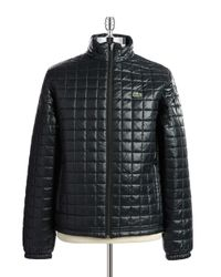 Lacoste   Black Quilted Waterproof Puffer Coat for Men   Lyst