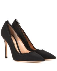 Gianvito Rossi | Black Carmen Leather And Fabric Pumps | Lyst