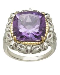 Lord & Taylor | Purple Sterling Silver 14kt. Yellow Gold Amethyst And Diamond Ring | Lyst
