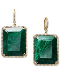 Macy's | 14k Gold Earrings, Dyed Green Corundum Sapphire (61 Ct. T.w.) And And Diamond (3/4 Ct. T.w.) Rectangle Drop Earrings | Lyst