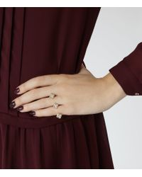 Reiss - Metallic Ohara Double Ring With Crystals From Swarovski - Lyst