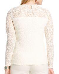 Lauren by Ralph Lauren | Natural Plus Lace Long-sleeved Tee | Lyst