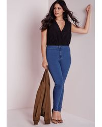 Missguided   Plus Size High Waisted Skinny Jeans Mid Blue   Lyst