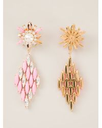 Shourouk - Pink 'cobra' Earrings - Lyst
