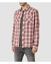 AllSaints - Brown Spokane Shirt Usa Usa for Men - Lyst