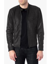 7 For All Mankind - Black Leather Biker Jacket for Men - Lyst