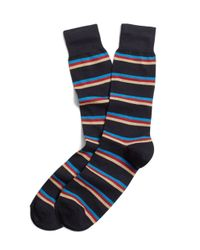 Brooks Brothers | Blue Horizontal Stripe Crew Socks for Men | Lyst