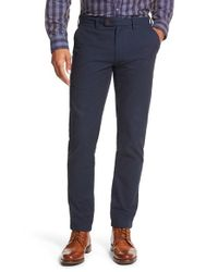Ted Baker | Blue 'parval' Herringbone Trousers for Men | Lyst