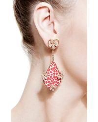 Bochic | Red Patterned Enamel and Diamond Butterfly Earrings | Lyst