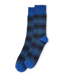 Robert Talbott - Blue Micro Plaid Crew Socks for Men - Lyst