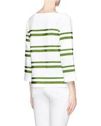 Tory Burch - Green Kendall Grosgrain Ribbon Stripe Top - Lyst