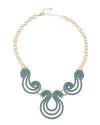 Fragments - Blue Beaded Scroll Bib Necklace - Lyst