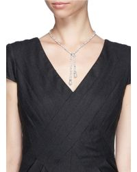 CZ by Kenneth Jay Lane | Metallic Dangle Faux Pearl Cubic Zirconia Necklace | Lyst