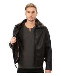 Marc New York - Black Kane Faux Shearling Aviator Jacket for Men - Lyst