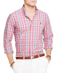 Ralph Lauren - Red Polo Plaid Poplin Button Down Shirt - Regular Fit for Men - Lyst