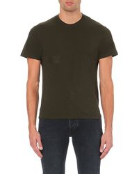 Sandro - Green Distressed Cotton-jersey T-shirt for Men - Lyst