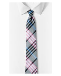 Express | Pink Narrow Plaid Silk Tie - Raspberry for Men | Lyst