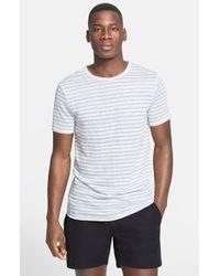 Onia - White 'chad' Stripe Linen T-shirt for Men - Lyst