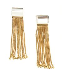 Rachel Zoe | Metallic Crystal And Gold Faceted Lucite Tassel Earrings | Lyst