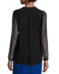 Elie Tahari | Black Emmy Long-sleeve Tie-neck Blouse | Lyst