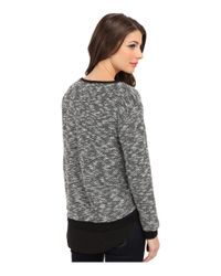 Two By Vince Camuto - Black Ls Sweater Like Knit W Chiffon Piecing - Lyst