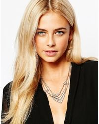 Oasis | Metallic Three Row V Collar Necklace | Lyst